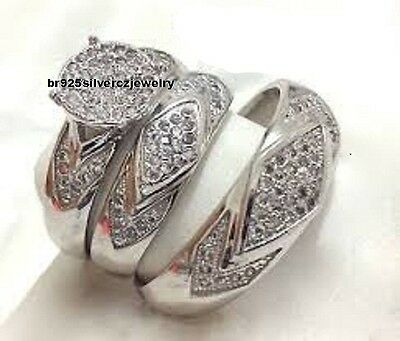 His and Her Bridal Diamond Trio Set 2.74 Cttw 14K White Gold Wedding Band Ring