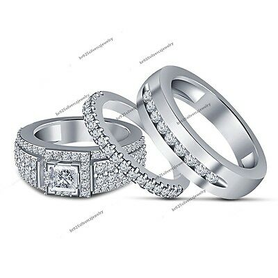 Diamond Trio Set His Hers Matching Engagement Ring Wedding Band White Gold Over
