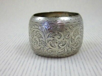 Antique Solid Silver  Pair of LARGE BARREL NAPKIN RINGS  Hallmarked B`ham 1899