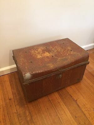 Vintage Tin Travel Trunk Country Style Industrial