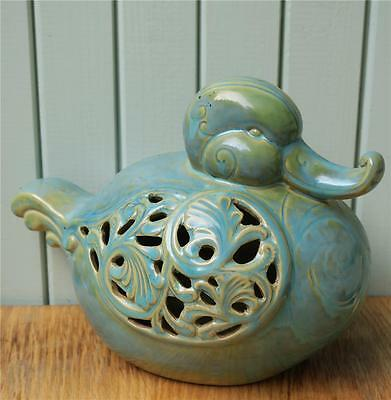 ORIENTAL CERAMIC DUCK with PIERCED DECORATION SIDES
