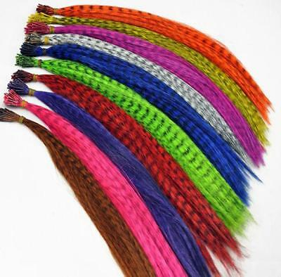 """50pcs Grizzly synthetic Feather hair Extensions 16"""" with 50 beads for free FT"""