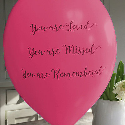 Angel & Dove 25 Bright Pink 'You Are Loved' Biodegradable Funeral Balloons
