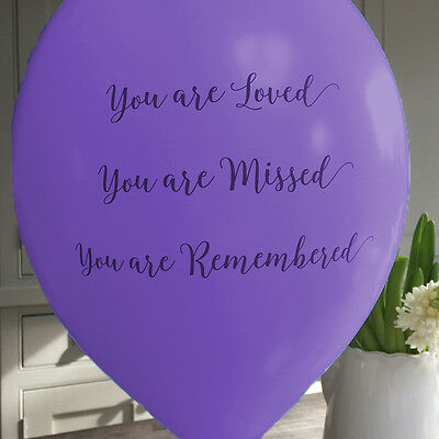 Angel & Dove 25 Purple 'You Are Loved' Biodegradable Latex Funeral Balloons
