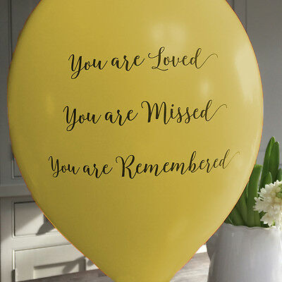 Angel & Dove 25 Yellow 'You Are Loved' Biodegradable Latex Funeral Balloons