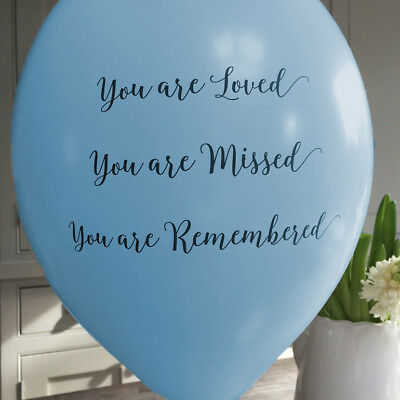 Angel & Dove 25 Blue 'You Are Loved' Biodegradable Latex Funeral Balloons