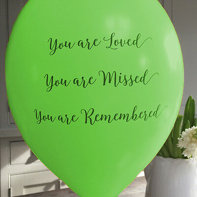 Angel & Dove 25 Green 'You Are Loved' Biodegradable Latex Funeral Balloons