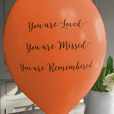 Angel & Dove 25 Orange 'You Are Loved' Biodegradable Latex Funeral Balloons