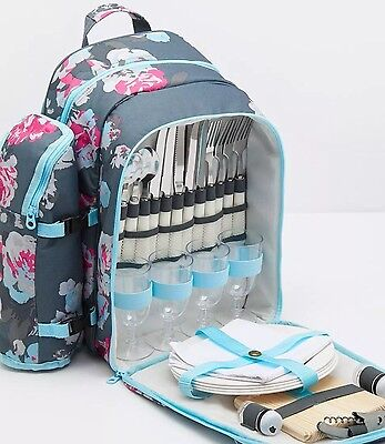 Joules Four Person Picnic Rucksack in Grey Floral BNWT