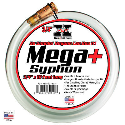"REV-X Mega Syphon PLUS (3/4"" x 10') Fluid Siphon Water Pump Drain Fuel Flush"