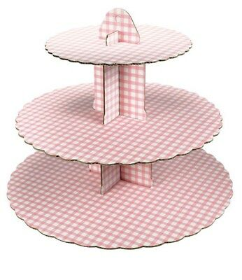 Culpitt GINGHAM PINK 3 Tier Cupcake Cake Stand Display Birhtday Party Decoration