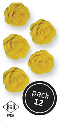 PME YELLOW Cupid Roses Floral Flowers Icing Sugar Cup Cake Decorations 12 Pack