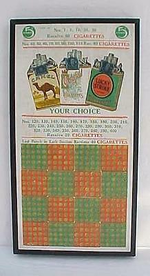 1920's 5C CIGARETTE PUNCH BOARD TRADE STIMULATOR CAMEL LUCKY STRIKE CHESTERFIELD