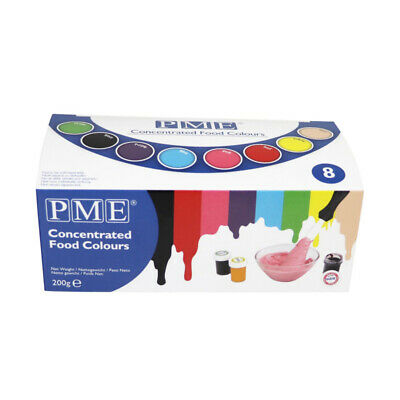 PME Set of 8 Icing Fondant Food Colour Gel Paste Cup Cake Decorating