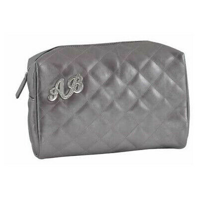 AB Collezioni Ladies Womens Glamour Beauty Cosmetics Makeup Bag Case Silver/Grey