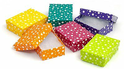 888 Display USA - Multi Color Polka Dot Jewelry Gift Packaging Cotton Filled Box