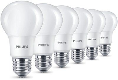 6 Pk Philips LED Frosted E27 Edison Screw 60w Warm White Light Bulbs Lamp 806Lm