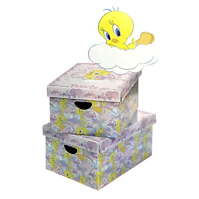 2 x Tweety Looney Tunes Carboard Storage Store Boxes For Girls Kids Bedroom