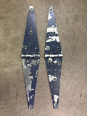 "Lot 2 Vintage Large Heavy Metal 20"" Hinges - Door Shed Gate Barn 4lbs!"