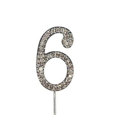 Culpitt 6 DIAMANTE NUMBER Topper Wedding Anniversary Birthday Cake Decorations