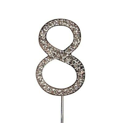 Culpitt 8 DIAMANTE NUMBER Topper Wedding Anniversary Birthday Cake Decorations