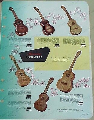 1953 HARMONY UKULELES with Roy Smeck jobber catalog page - cool old ukes!