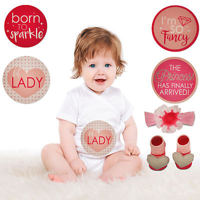 Rising Star Milestone Stickers, Headwrap and Booties Gift Set, Baby Girls 0-12M