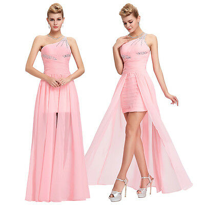 Pink Long Evening Dress Bridesmaid Formal Cocktail Ball Prom Party Gown Dress UK
