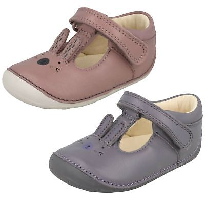 Sale Girls Clarks T-Bar Leather First Shoes-Little Glo
