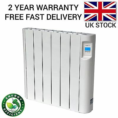 1000W Wall Mounted Oil Filled Electric Radiator 24/7 Timer Thermostat