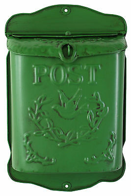 Green Metal POST BOX Mail,Letter,Distressed Paint Finish,Vintage,Lockable,New