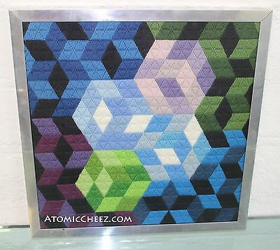 Vintage Mid Century MOD Vasarely Era GEOMETRIC Modernist Needlepoint WALL ART