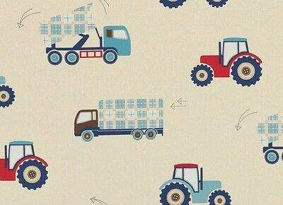 Laura Ashley Tractors & Trucks Farm Boys Made to Measure Blackout Lined Curtains