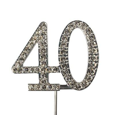 Culpitt 40 DIAMANTE NUMBER Topper Wedding Anniversary Birthday Cake Decorations