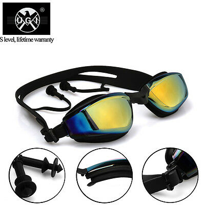 UGI Mirror Adult Swimming Goggles Anti Fog Black UV Protection Attached Earplugs