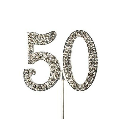 Culpitt 50 DIAMANTE NUMBER Topper Wedding Anniversary Birthday Cake Decorations