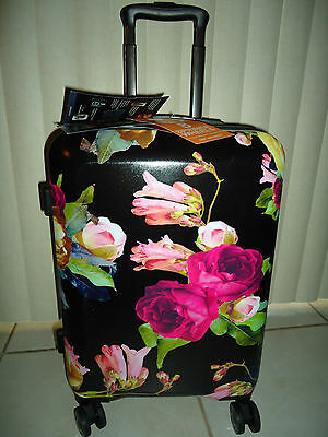 Calpak Astyll  24 In Petals Black Hardside Spinner Luggage Suitcase Tsa Lock Nwt