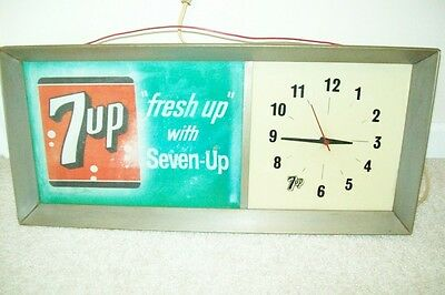 Vintage 1960s 7 Up Commercial Advertising Clock with Lighted Translite
