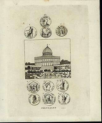 Dome of the Rock King Bulls Angels 1817 ancient Numismatic Coins antique print