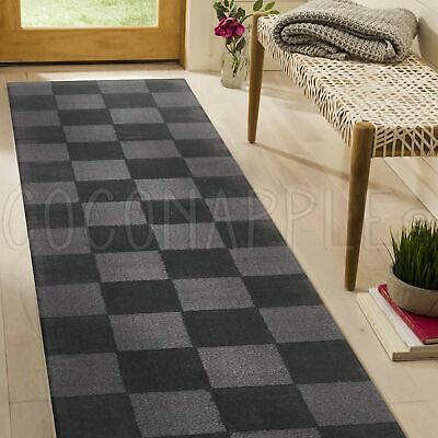 THICK HANDLOOMED NZ WOOL CHARCOAL MODERN FLOOR RUNNER 80x300cm **FREE DELIVERY**