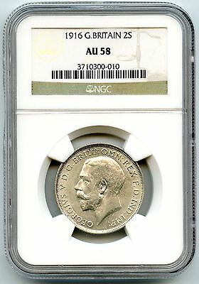 Great Britain 1916 One Florin Two Shillings NGC AU 58 - King George V - KZ109