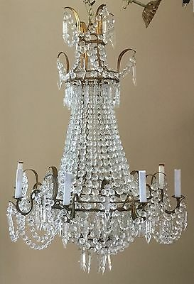 Antique Vintage French Empire Crystal Beaded Basket Chandelier 9 Lite Directoire