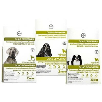 Bayer Quad Dewormer Chewable Tablets for Dogs - Puppies/Small - Medium or Large