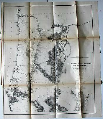Northern California Oregon Columbia River 1855 Jeff Davis U.S. RR survey map