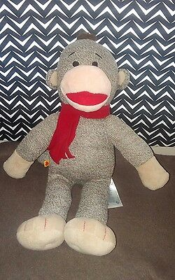 Build A Bear Plush Sock Monkey with Red Scarf BABW Stuffed Animal 17""