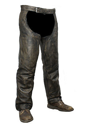 Motorcycle Biker Chaps & Belt Distressed Brown Genuine Leather New Free Shipping