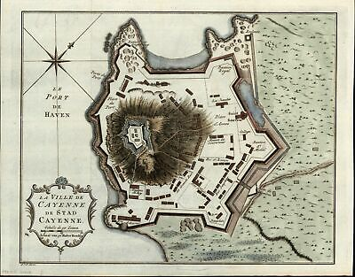 Cayenne French Guiana Guyana South America 1774 Bellin antique city plan map