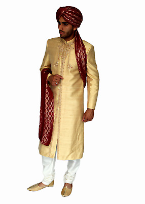Gold Raw Silk Sherwani in Red Embroidery Indian Pakistani Bollywood Mens Suit UK