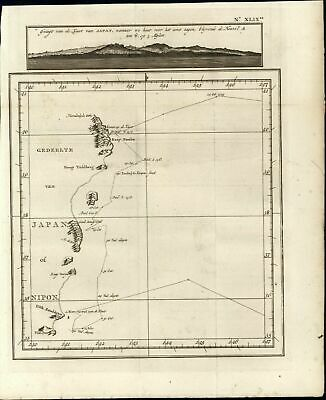 Coast of Japan Voyages of Captain Cook Nippon 1803 old antique nautical map