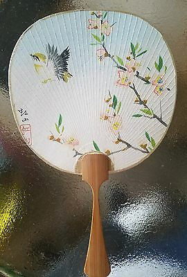 Antique Japanese Uchiwa Fan hand painted cherry blossoms and bird signed